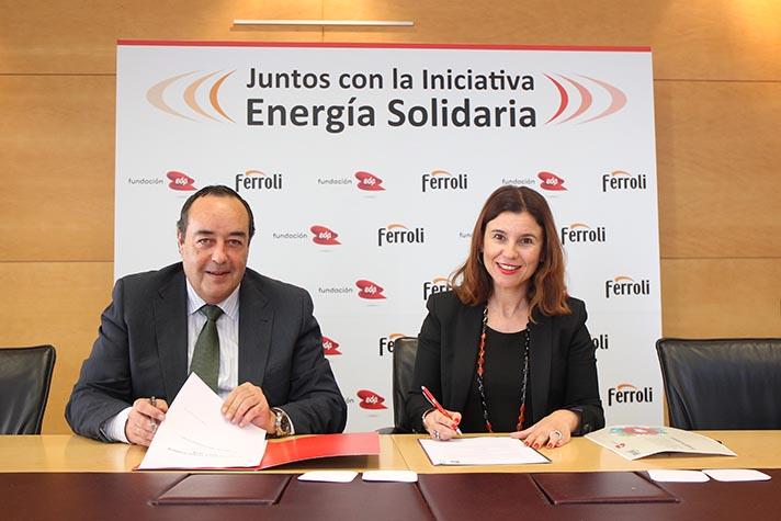Víctor Gómez Álvarez, Director General de Ferroli España y Portugal, y la directora ejecutiva de la Fundación EDP, Vanda Martins