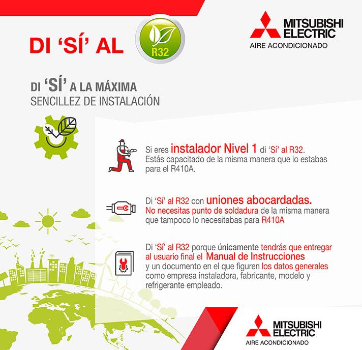 Eficiencia energética, respeto al medioambiente, máxima facilidad de instalación y ahorro económico, beneficios del producto con R32