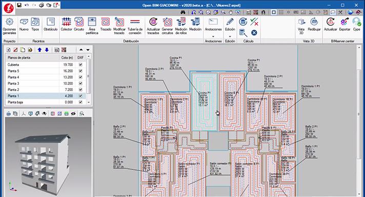 Open BIM de Giacomini facilita el modelado de instalaciones radiantes y su cálculo energético
