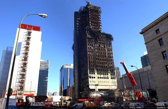 Estado de la Torre Windsor en Madrid, tras el incendio que sufrió