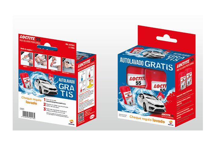 Con la compra de este pack de dos botes Loctite 55, el consumidor recibirá además un cheque regalo para un autolavado gratis