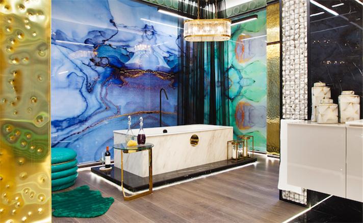 El espacio de Geberit, diseñado por Francisco Silván, evoca elementos emblemáticos de la geografía mundial