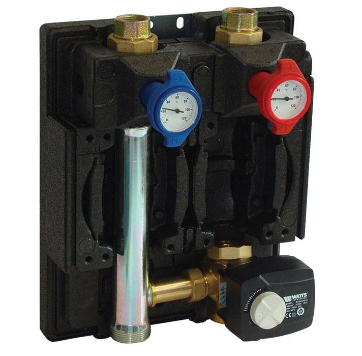 Unidad de recirculación y mezcla Serie PASM con válvula mezcladora de 3 vías y actuador