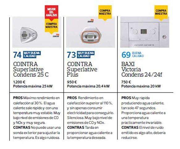 Las dos calderas mejor valoradas y que han obtenido el galardón de Compra Maestra han sido los dos modelos de la marca Cointra, el modelo Superlative Condens y el modelo Superlative Plus