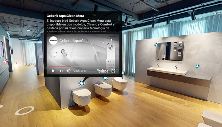 Las salas del showroom de Geberit en Barcelona se recrean ambientes de baño reales