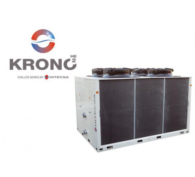Las nuevas enfriadoras de Hitecsa de la serie KRONO2 HE son bombas de calor reversibles con condensación por aire